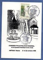 Carte Premier Jour / Fables De La Fontaine  / Antran / 21-22 Octobre 1995 - Cartes-Maximum