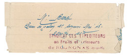 Papier Pub Syndicat Des Expéditeurs En Fruits Et Primeurs De Rognonas - Publicités