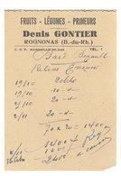 Papier Pub Fruits Légumes Et Primeurs Rognonas, Denis Gontier - Publicités