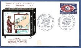 Enveloppe Premier Jour / N 591 / Congrès Union Radio Télévision Educative / Paris  / 4 Mars 1967 - 1960-1969