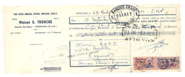 Vieux Papier Pub - Maison E. Trouche, Rognonas, Emballages, Impression, ...Banque Chaix Avignon, Timbres Fiscaux - Publicités