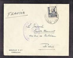 ENVELOPPE GUERRE ESPAGNE Cachet De Censure 1937 CENSURA MILITAR TORRELAVEGA Solvay Cia - Marcas De Censura Nacional