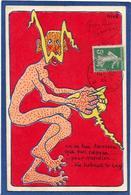 CPA Niké Satirique Caricature Anti Kaiser Germany Guillaume II Circulé Diable Krampus - Satiriques