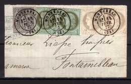 N° 50 Paire, N° 52 Paire, N° 66 S / Fragment T.P. Ob T 17 MONTEREAU 11 Févr 77 - 1871-1875 Ceres