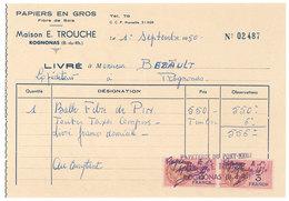 Vieux Papier Rognonas Facture, Maison E. Trouche, Papiers En Gros, Timbres Fiscaux 3 Francs, Papeterie Pont Neuf - 1950 - ...