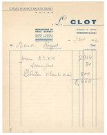 Vieux Papier Rognonas Facture L. Clot, Cycles Peugeot, Radior, Souvet, Motos - 1950 - ...