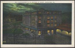 Lackawanna Rail Road Station At Night, Scranton, Pennsylvania, C.1930 - Scranton News Co Postcard - Other