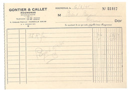 Vieux Papier Rognonas Facture Gontier & Callet - 1950 - ...