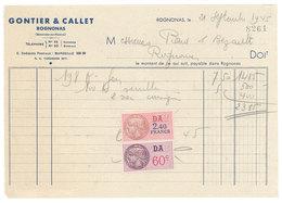 Vieux Papier Rognonas Facture Gontier & Callet, Timbres Fiscaux - 1950 - ...