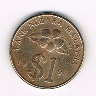 &-    MALAYSIA  1  RINGGIT 1991 - Malaysie