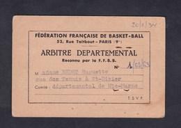 Carte Arbitre Departemental Basket Ball Federation Francaise Huguette Bedet Saint Dizier Haute Marne - Sports