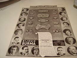 ANCIENNE PUBLICITE BIJOU BURMA UN CADEAU 1938 - Jewels & Clocks