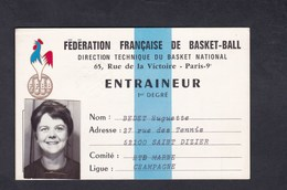 Carte Entraineur 1er Degre Federation Francaise Basket Ball Huguette Bedet Saint Dizier Haute Marne Ligue Champagne - Sports