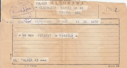 72321- TELEGRAMME SENT FROM CLUJ NAPOCA TO CARANSEBES, 1960, ROMANIA - Télégraphes