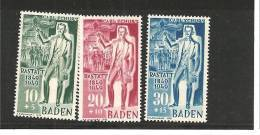 FrzMi.Nr.50-52 **/ Deutschland, /(1949) Baden, Carl Schurz - Französische Zone