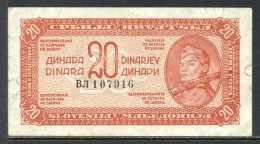 329-Yougouslavie Billet De 20 Dinara 1944 - Yugoslavia