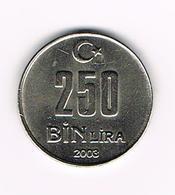 &-   TURKIJE   250  BIN  LIRA  2003 - Turquie