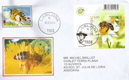 L'abeille Carniolienne, Bloc-feuillet De Slovénie 2018, Sur Lettre Adressée Andorra, Avec Timbre à Date Arrivée - Abeilles