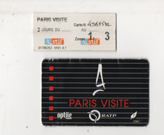 Alt1041 Paris Visite, Abbonamento Metropolitana, Ticket Bus Metro Tram Tramway, Train Treno Rail RATP, SNCF - Europa
