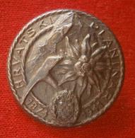 "WWII,NDH,Croatia, Hrvatska, Alpine, Croatian Mountaineer - ""HRVATSKI PLANINAR 1874-1941"" Very Rare Big Badge / Pin - Vereinswesen"