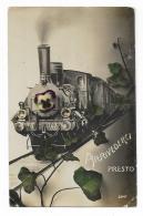 AUGURALE - TRENO LOCOMOTIVA - ARRIVEDERCI PRESTO  1911  VIAGGIATA FP - Felicitaciones (Fiestas)