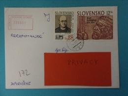 STORIA POSTALE RACCOMANDATA POSTAL HISTORY REGISTRATED LETTER STAMPS USED SLOVACCHIA SLOVENSKO - Altri