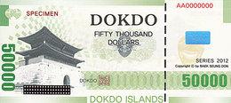 Specimen Île DOKDO Corée 50 000 Dollars 2012 UNC - Fictifs & Spécimens