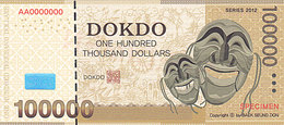 Specimen Île DOKDO Corée 100 000 Dollars 2012 UNC - Specimen