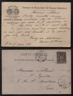 WALINCOURT - NORD - BIJOUX - OR / 1890 CARTE COMMERCIALE POUR PARIS  (ref 7449a) - 1876-1898 Sage (Tipo II)