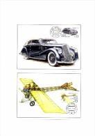 2 Cartes Maximum 2015 : Automobile Walter 6B , Avion Monoplan Vlach , Maximum Card Antic Car And Airplane - FDC