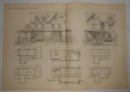 Plan D'une Maison De Campagne à Colombes. Seine. M. S. Rançon, Architecte. 1885. - Travaux Publics