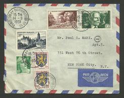 Lettre Avion >>> U.S.A. / Affr. Arbois - Gandon - Blason - D'indy - Médecine Militaire  / PARIS 14.09.1951 - 1921-1960: Modern Period