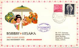 Enveloppe 1er Vol Air India Bombay Osaka 02/11/1972 - Avions