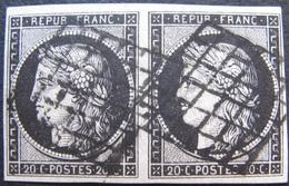 R1749/251 - CERES N°3a - GRILLES NOIRES - Cote : 175,00 € SUPERBE PAIRE - 1849-1850 Ceres