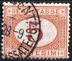 ITALIA, ITALY, SEGNATASSE, POSTAGE DUE, REGNO, 1890 FRANCOBOLLO USATO Un. S20    Michel P5b - 1878-00 Umberto I