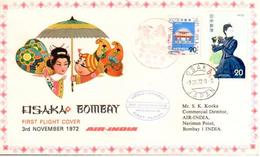 Enveloppe 1er Vol Air India Osaka Bombay 03/11/1972 - Avions