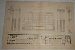Plan De La Compagnie Universelle Du Canal Interocéanique De Panama. M. Henry Picq, Architecte. 1885. - Travaux Publics