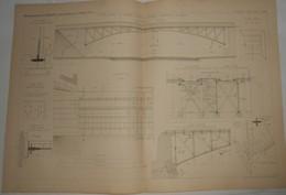 Plan Du Pont En Arc Du Chemin De Fer De Grande Ceinture De Paris. 1885. - Travaux Publics