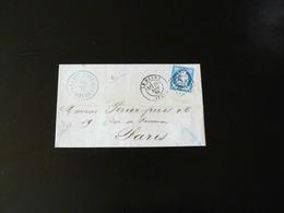 LETTRE DU HAVRE POUR PARIS - 1874  -   OBLITERATION LOSANGE AVEC CACHET 1769 - Marcophilie (Lettres)