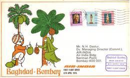Enveloppe 1er Vol Air India Bagdad Bombay 06/04/1976 - Avions