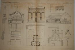 Plan De L'école De Filles De Semblançay. Indre Et Loire. M. Paul Raffet, Architecte. 1885. - Public Works