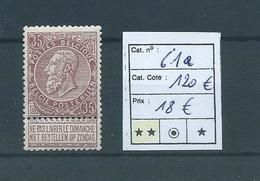 Belgique Belgïe COB 61 A MNH ** Fine Barbe Cote COB 120 € - 1893-1900 Thin Beard