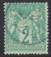 N°62 Sage 2c Vert Type I Oblitéré Cachet 1876 Classique - Signé Calves & Certif. - 1876-1878 Sage (Type I)