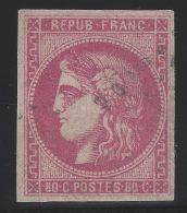 N°49 Cérès Bordeaux 80c Rose Oblitéré 1er Choix - Signé Calves - 1870 Emission De Bordeaux