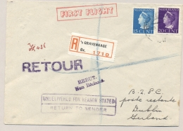 Nederland - 1947 - 15 En 20 Cent Konijnenburg Op KLM / Aer Lingus R-First Flight Amsterdam - Dublin / Ireland - Periode 1891-1948 (Wilhelmina)