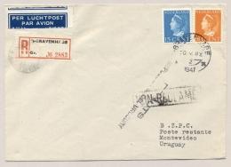 Nederland - 1947 - 15 En 50 Cent Konijnenburg Op KLM R-2nd Flight Amsterdam - Montevideo / Uruguay - Periode 1891-1948 (Wilhelmina)