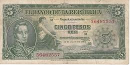 BILLETE DE COLOMBIA DE 5 PESOS DEL AÑO 1960  (BANKNOTE) - Colombia