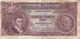 BILLETE DE COLOMBIA DE 20 PESOS DEL AÑO 1961  (BANKNOTE) - Colombia