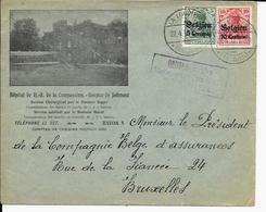 Lettre Deutsches Reich  LA LOUVIÈRE  Hôpital De Jolimont - Guerre 14-18