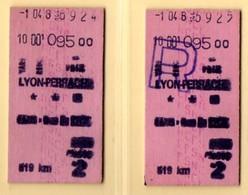 SNCF. 2 Tickets Lyon-Perrache, Aller Et Retour. - Spoorwegen